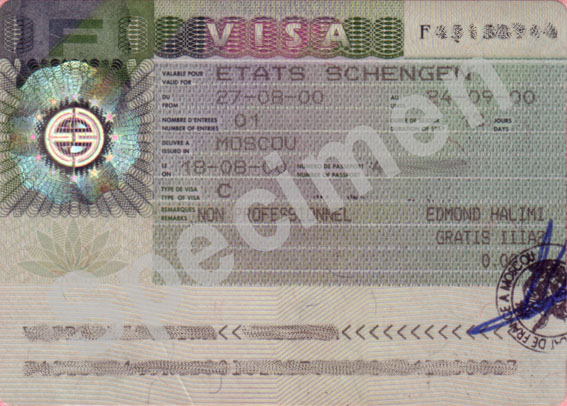 Visuel d'un Visa Schengen